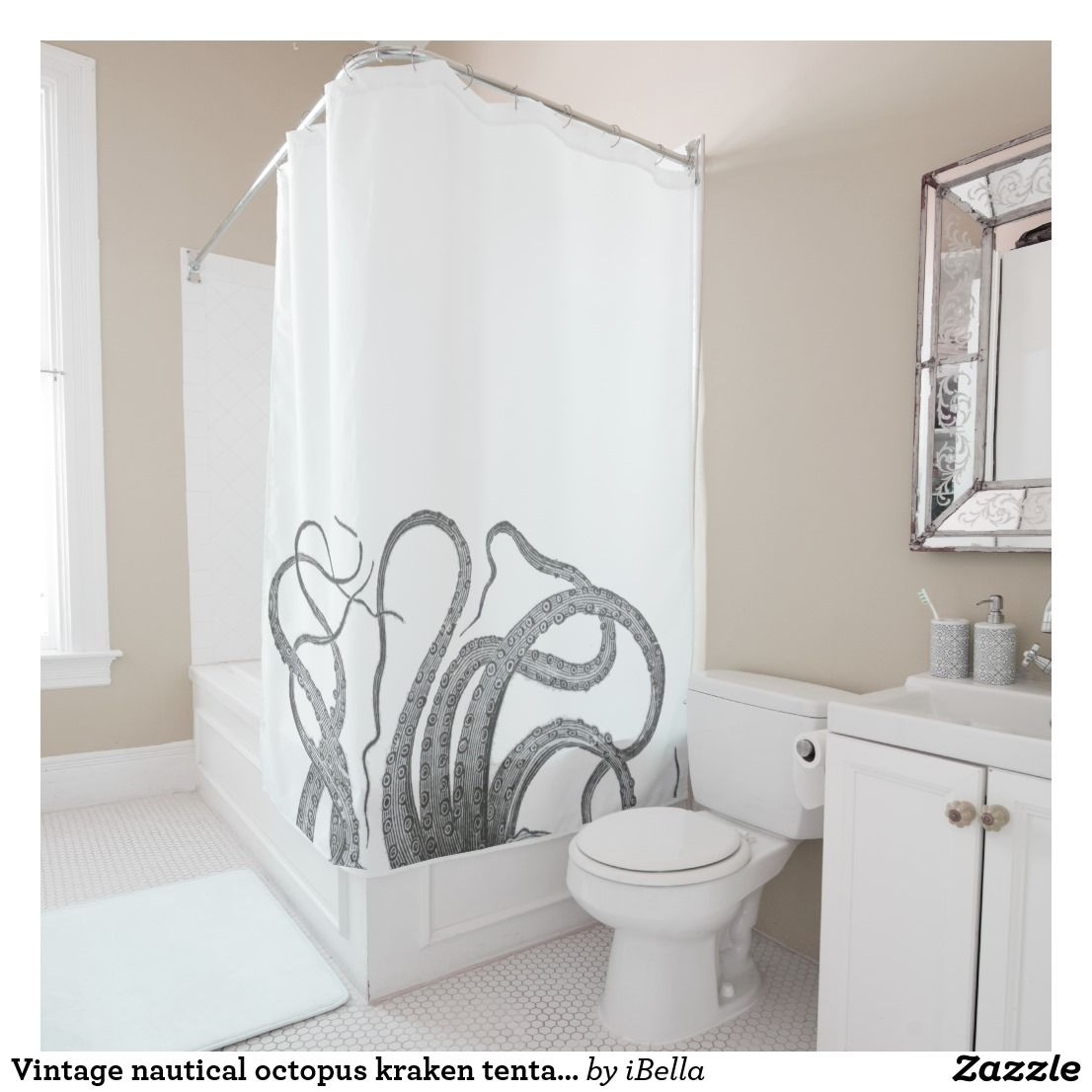 Vintage Nautical Octopus Kraken Tentacles Steampun Shower Curtain