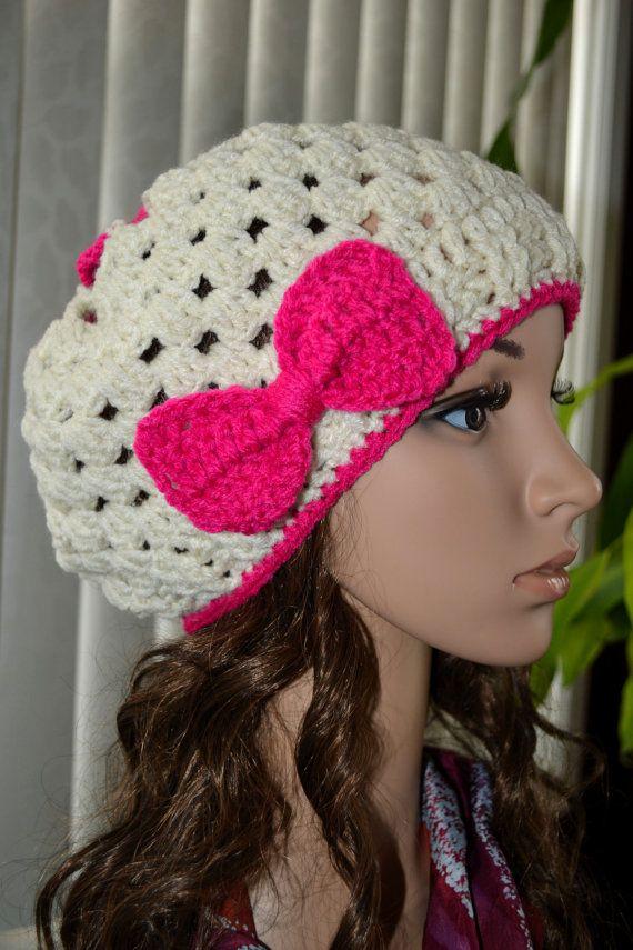 Women Teen Crochet Bow  Hat in Aran Pink by AiradaBoutique on Etsy, $25.00