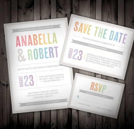 colors of the rainbow wedding invitation sample by nimbidesign 2500 - Rainbow Wedding Invitations