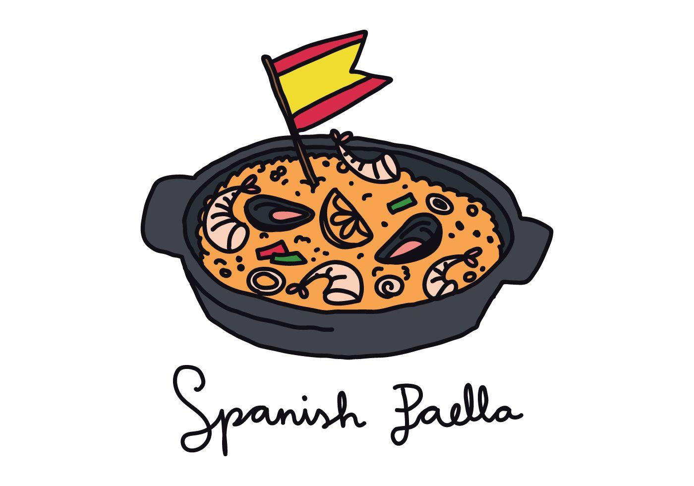 Paella Doodle Art Vectoriel Paella Dessin