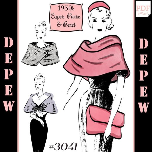 1950\'s Capes, Purse and Beret sewing pattern #3041 | Mrs Depew ...