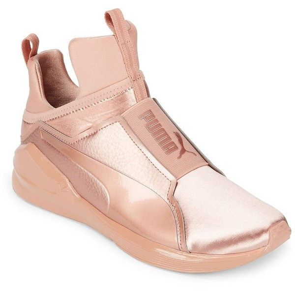 11da8670b2dff5 Puma Women's Metallic High-Top Sneakers ($110) ❤ liked on Polyvore  featuring shoes, sneakers, pink, high-top sneakers, hi tops, puma high tops,  high top ...