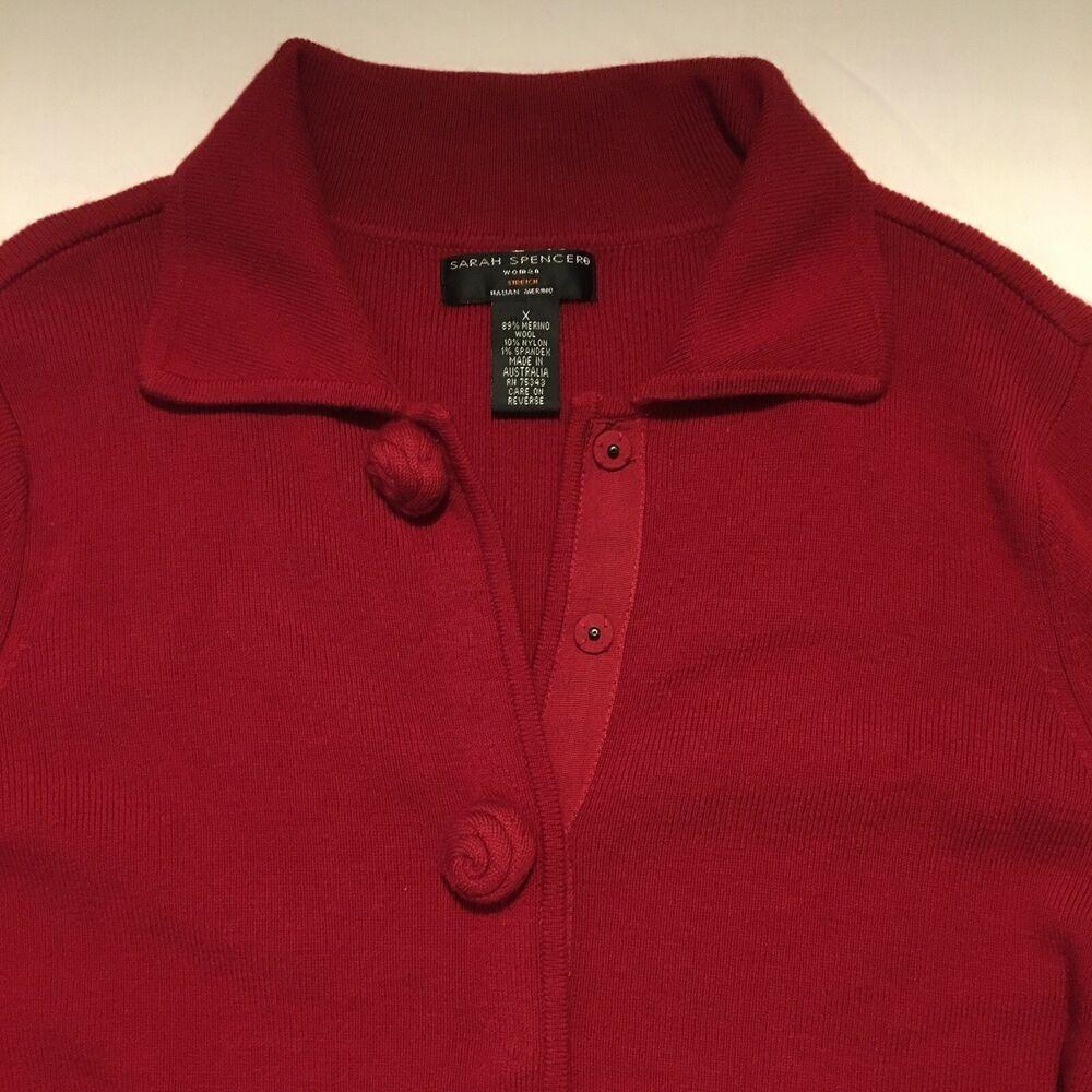 Sarah Spencer Cardigan Sweater Womens XL Red Merino Wool
