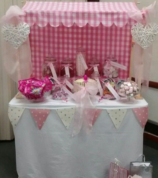 Camilleu0027s sweet buffet May Alain made the frame for the stall. Canopy pink gingham from Fabric Land. Hearts from Homebase with pink organza sashes added. & Camilleu0027s sweet buffet May 2014. Alain made the frame for the ...