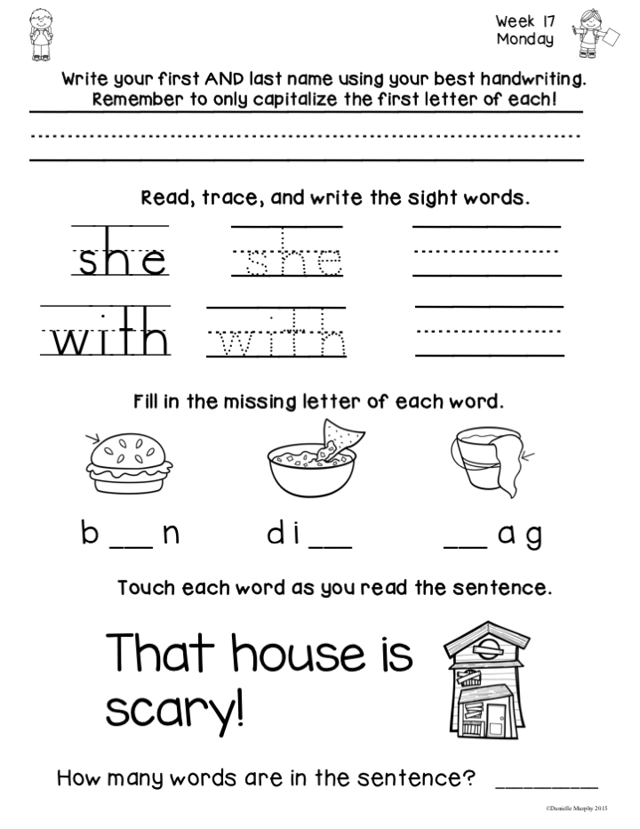 January Kindergarten NO PREP Math and Literacy Homework
