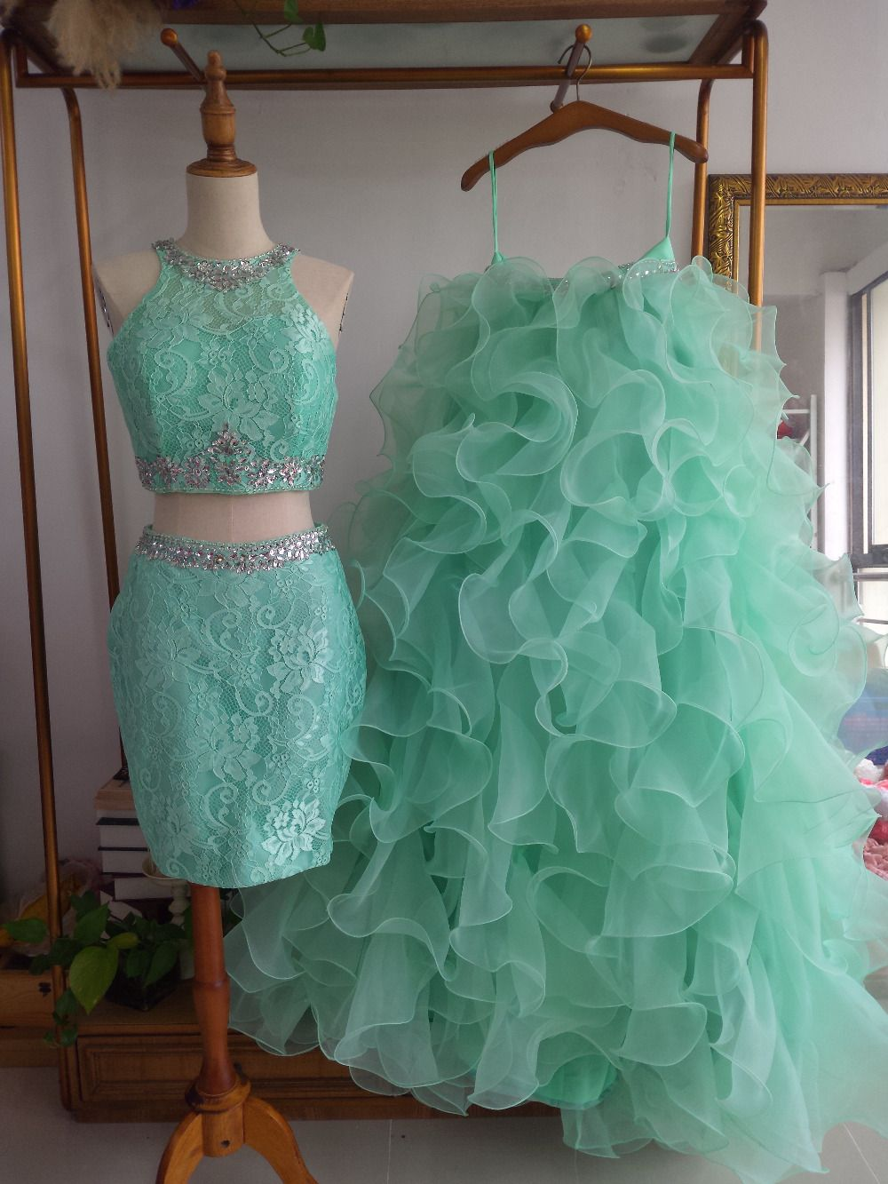 Aliexpress Com Buy Vinyl American Princess 45cm Dolls: Aliexpress.com : Buy Mint Ruffled 3 Pieces Ball Gown