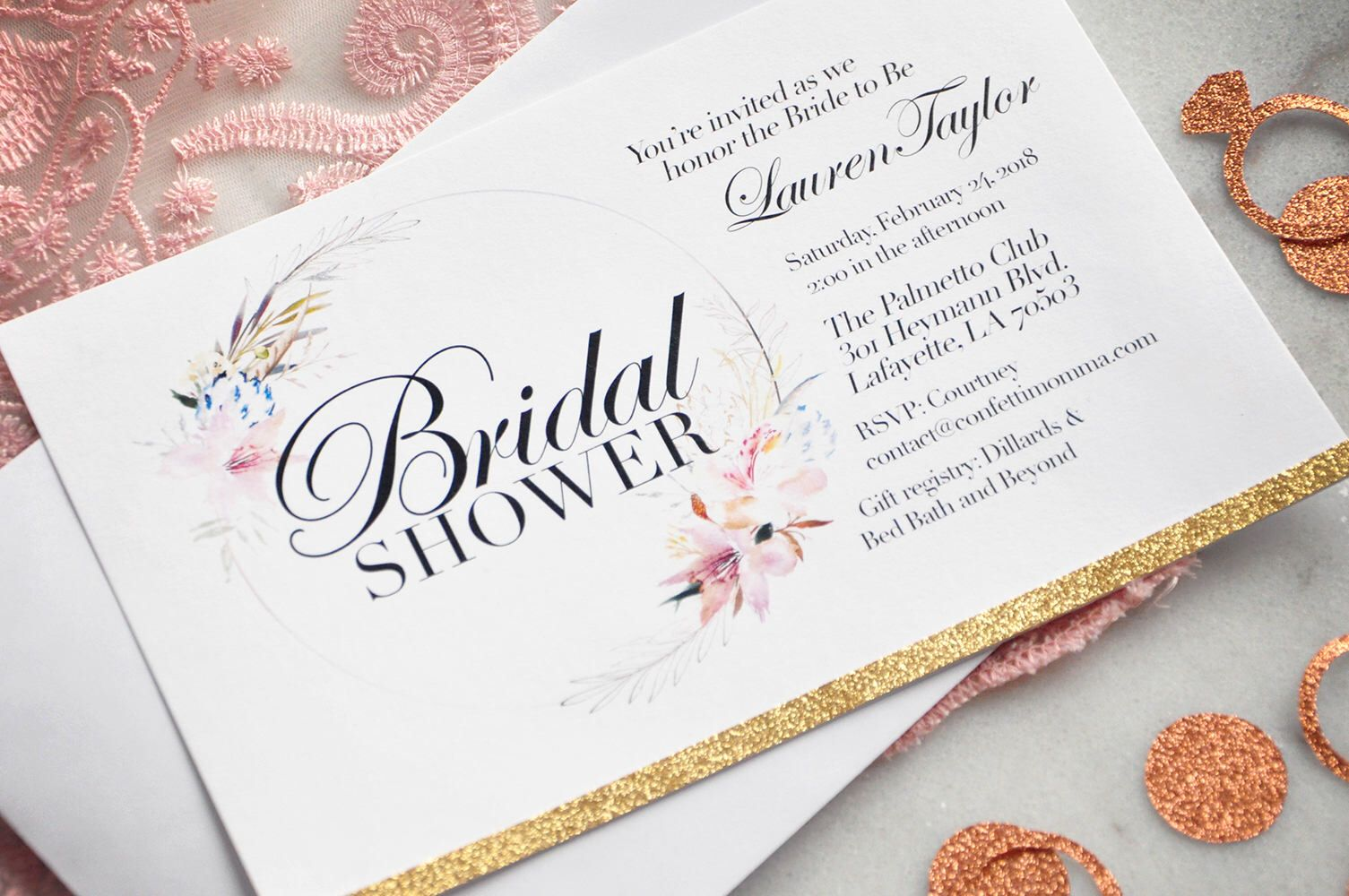 Bridal Shower Invitations with Envelopes. We Print, Cut, Glue and ...
