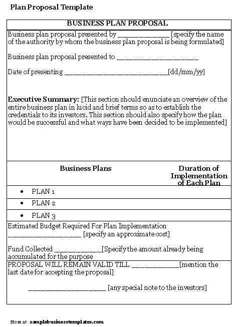 Business Proposal Templates Examples Sample Business Plan - proposal plan template