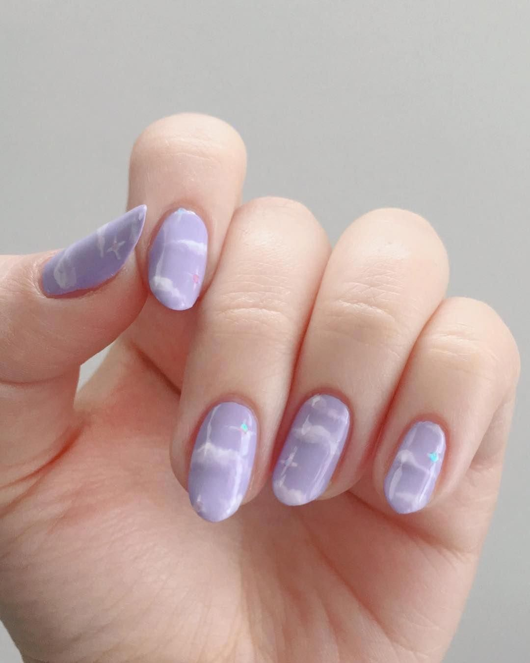 Photo of Reusable Celestial Purple Clouds & Stars Press-On Nails