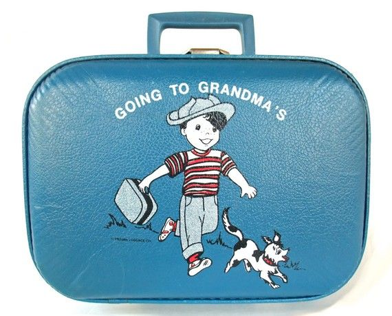 Vintage 60s Going to Grandma's Suitcase Boy Child's Hardsided ...