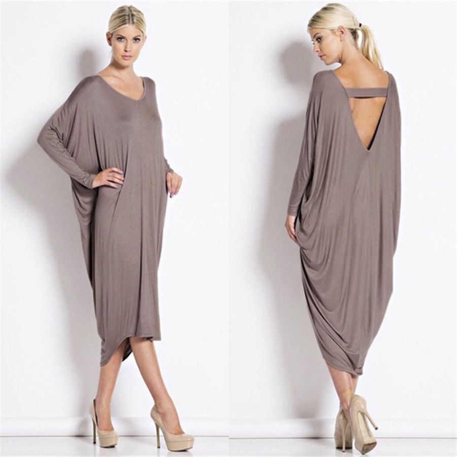 V neck long batwing sleeve backless dress fashionandlove