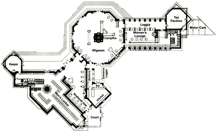 nakoma clubhouse floor plan 1924. designedfrank lloyd wright