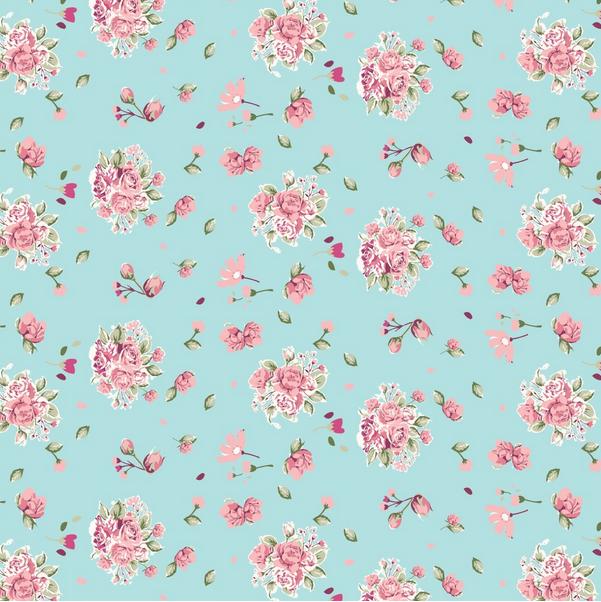 papel floral azul e rosa - Pesquisa Google