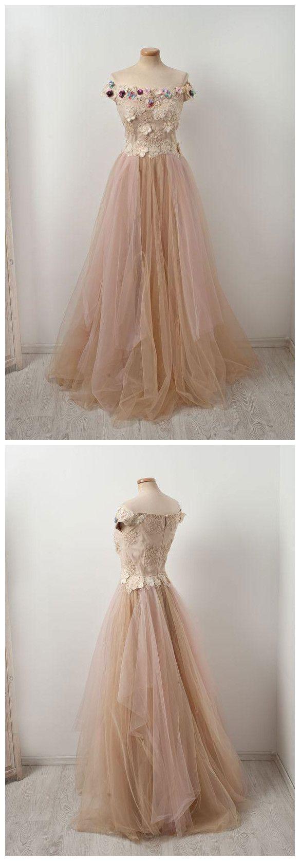 Elegant prom dress aline offtheshoulder tulle lace floral long