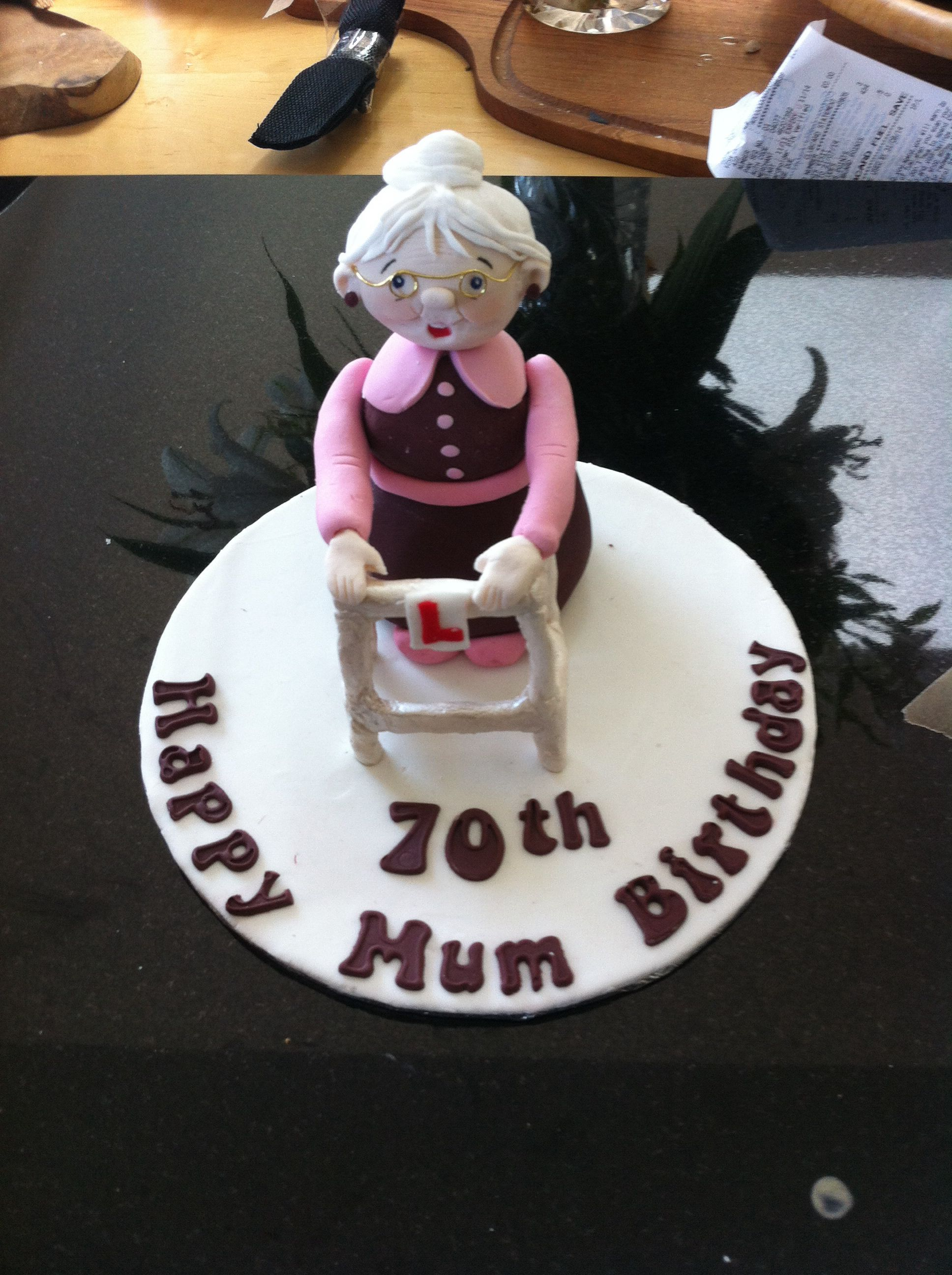 Finished cake topper- old lady with Zimmer frame for Debbie\'s mum\'s ...
