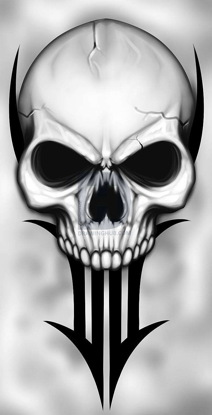 How To Draw A Traditional Skull Tattoo, Step by Step