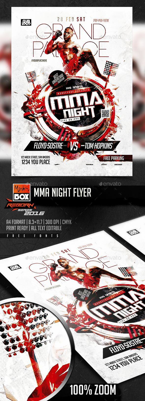 Mma Night Flyer  Flyer Template Template And Fonts