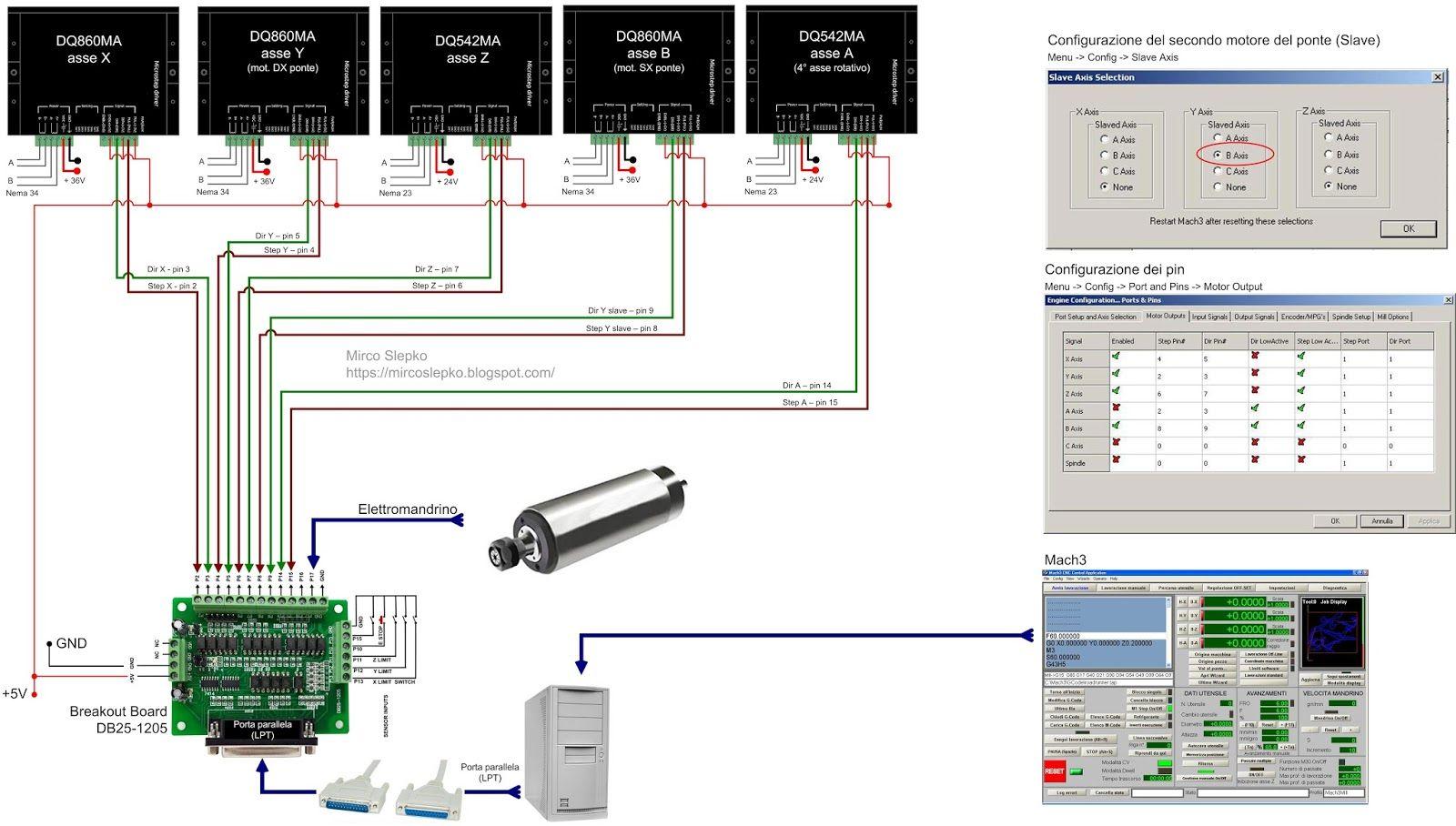 cnc in ferro 11 cablaggio scheda driver motori prima configurazione di mach3 e primi test di movimentazione [ 1600 x 908 Pixel ]