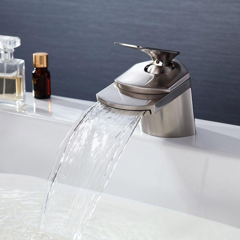 Modern 1 Hole Waterfall Bathroom Sink Faucet Single Handle In Brushed Nickel Solid Brass Bathroom Sink Faucets Brushed Nickel Bathroom Sink Faucets Waterfall Sink Faucet [ 1000 x 1000 Pixel ]