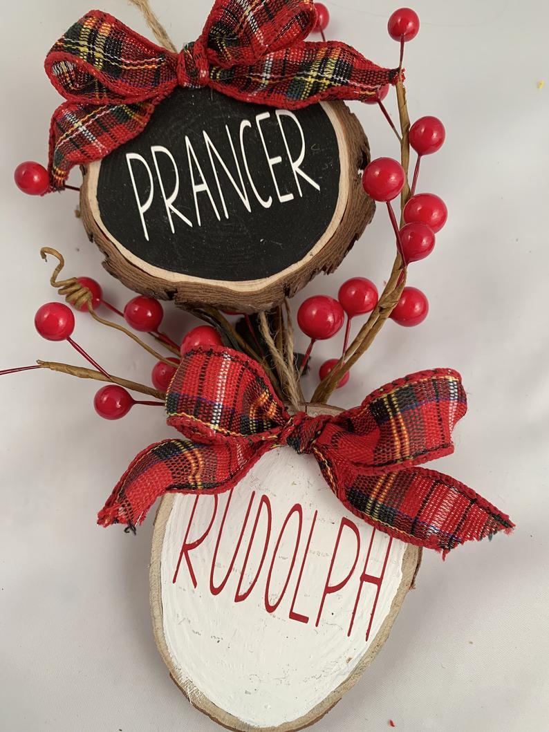 Reindeer Names Ornaments Wood Slice Christmas Ornaments