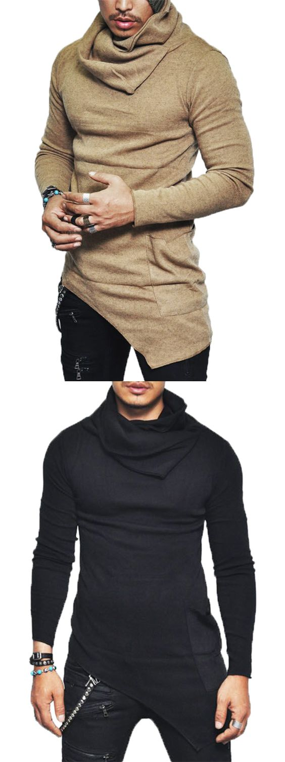 Cowl Neck Pocket Asymmetrical Sweater | Mens gear