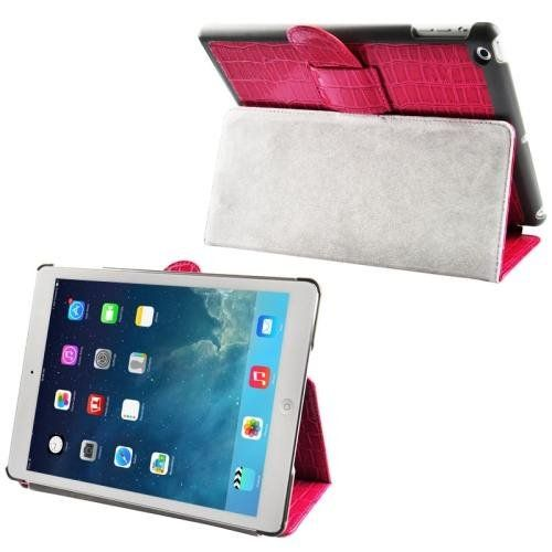 For+iPad+Air+Magenta+Crocodile+Texture+Leather+Case+with+Holder+&+Sleep+/+Wake-up+Function