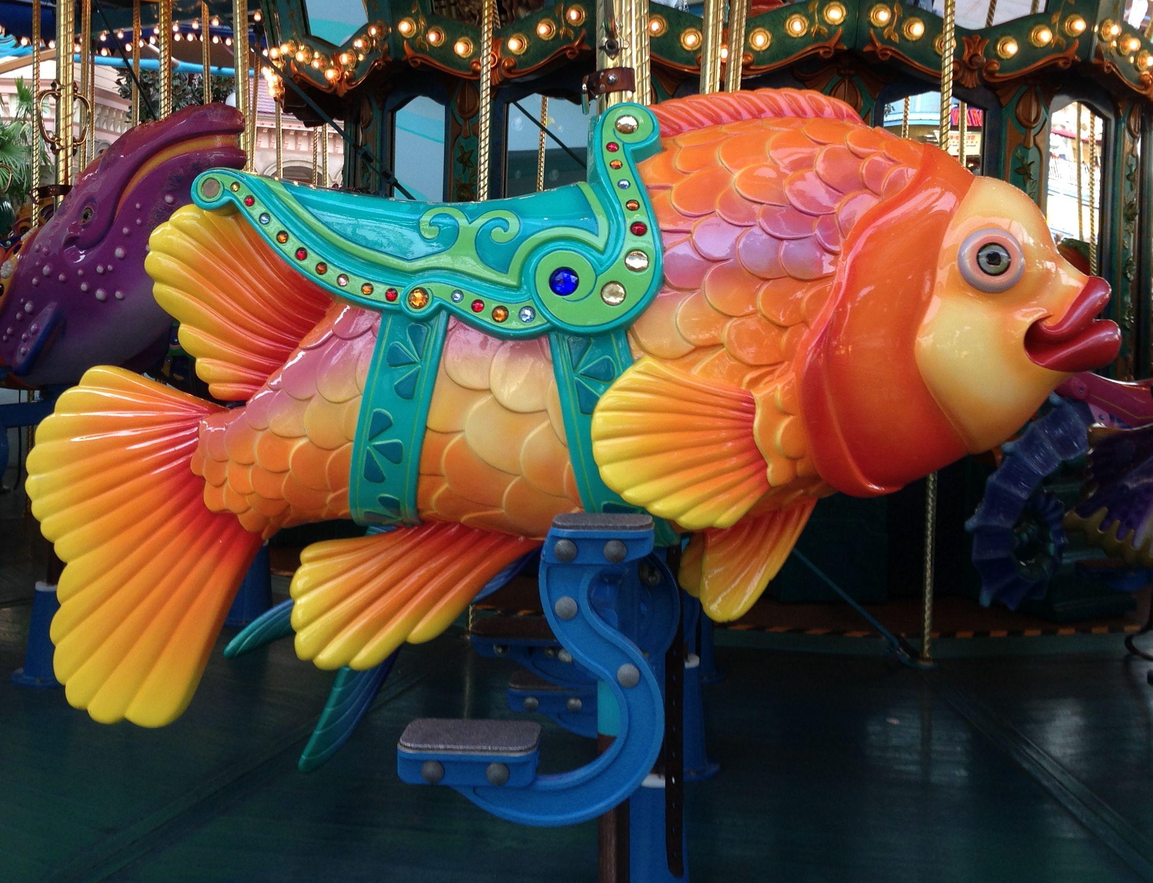 National carousel association denver zoo carousel african wild dog - Disney S California Adventure King Triton S Carousel Fish