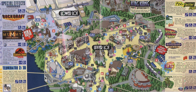 Universal Studios Universal Studios Hollywood Theme Park Map Universal Studios