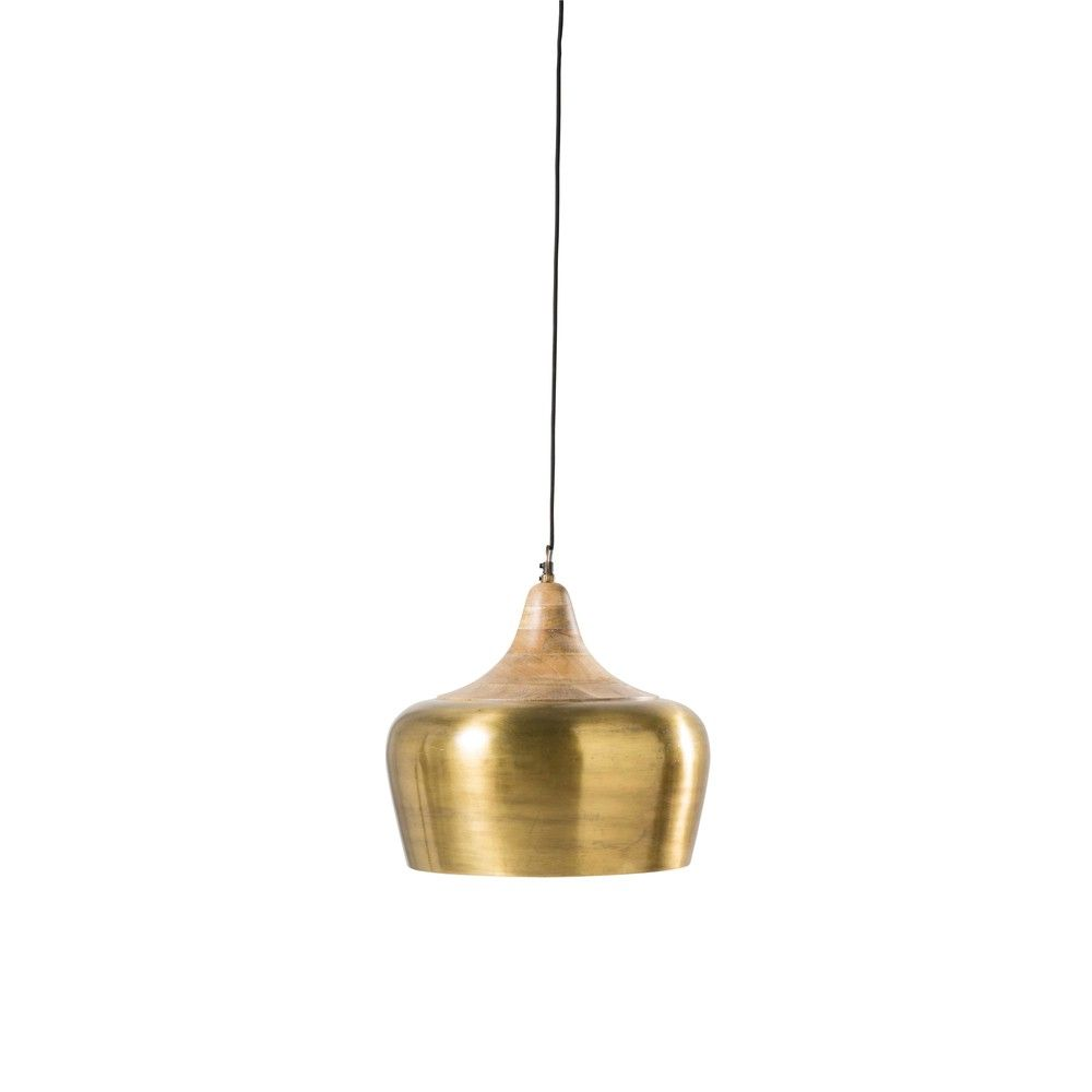 Mango Wood and Gold-Coloured Metal Pendant | Lights in 2019 ...