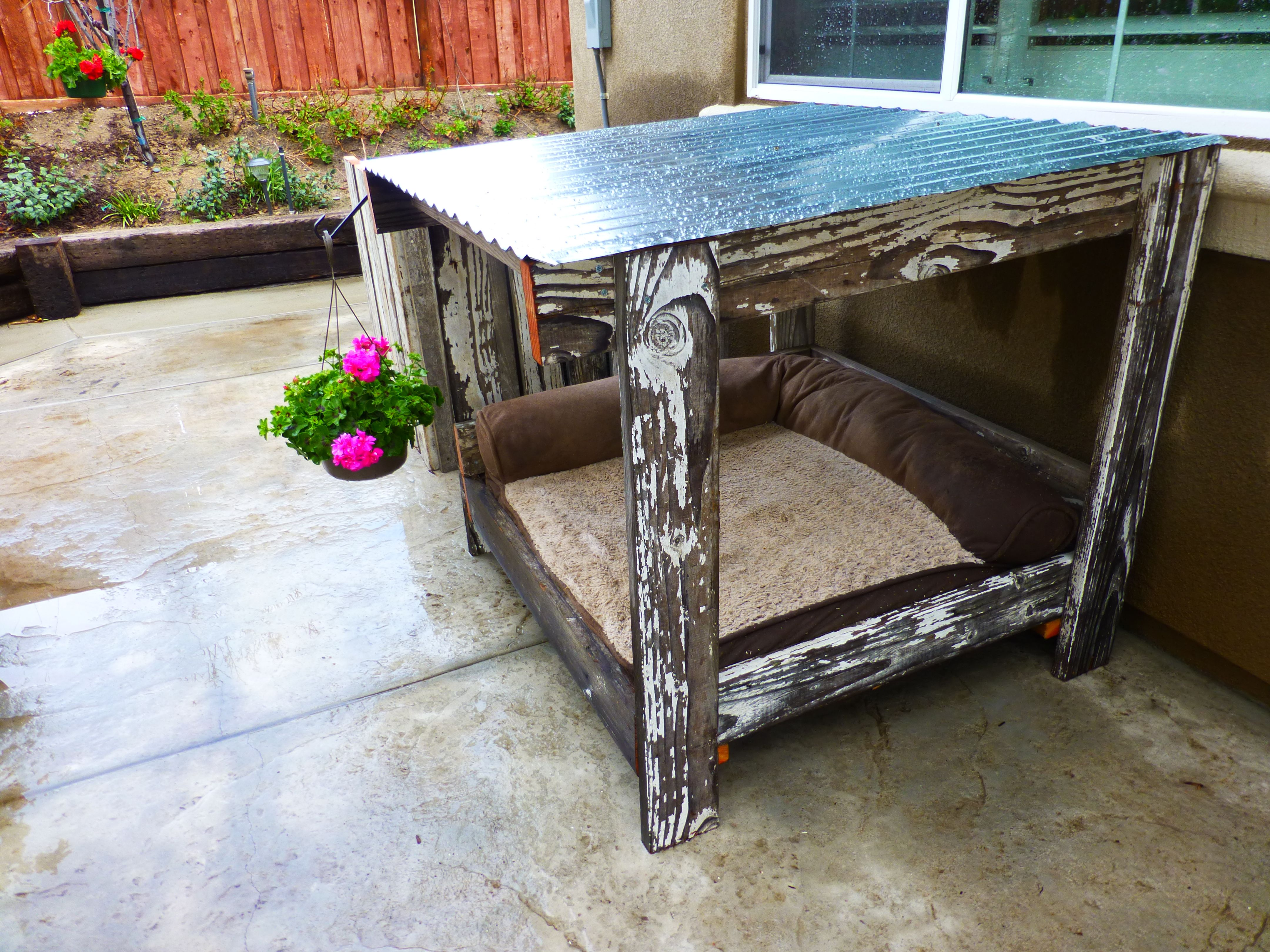 Dog house, old fence wood and a pallet = dog house,a/c ...