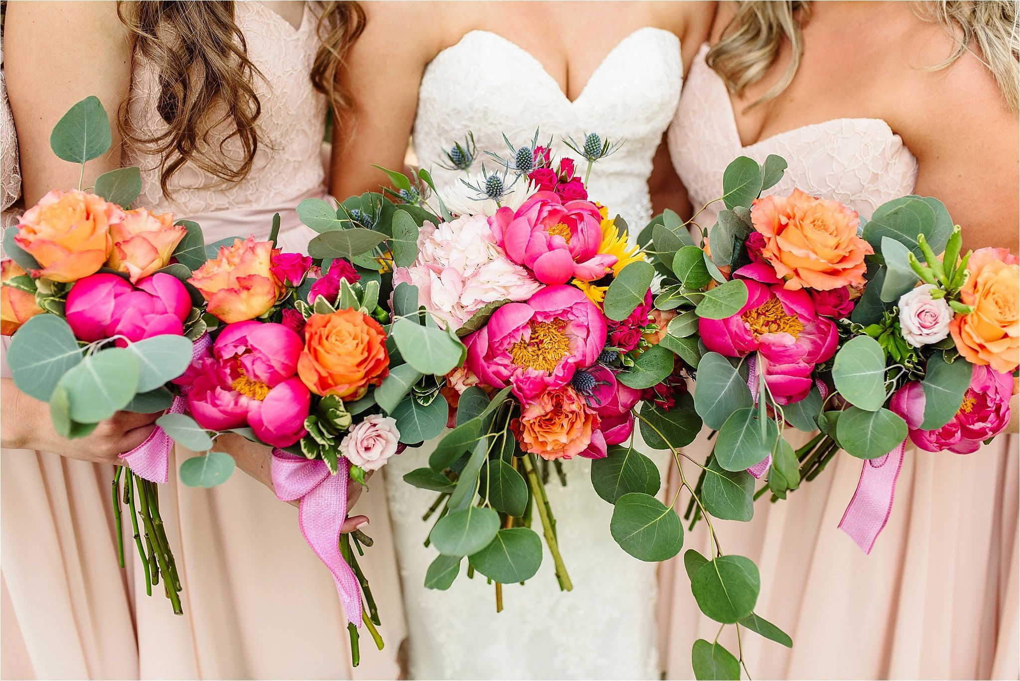 Beautiful Summer Winery Wedding Wedding Bouquets With Shades Of