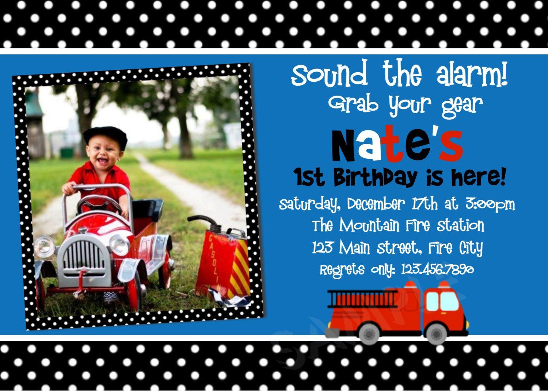 1st birthday boy firetruck party | Printable Birthday Invitations ...