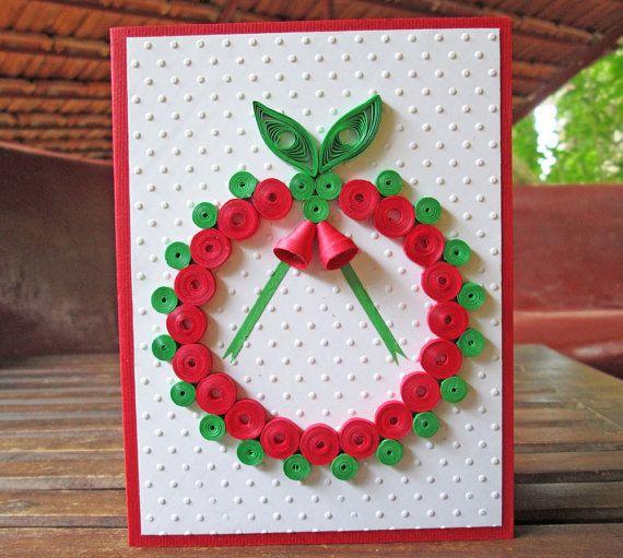 Quilled Christmas Card, Wreath Holiday Card, Paper