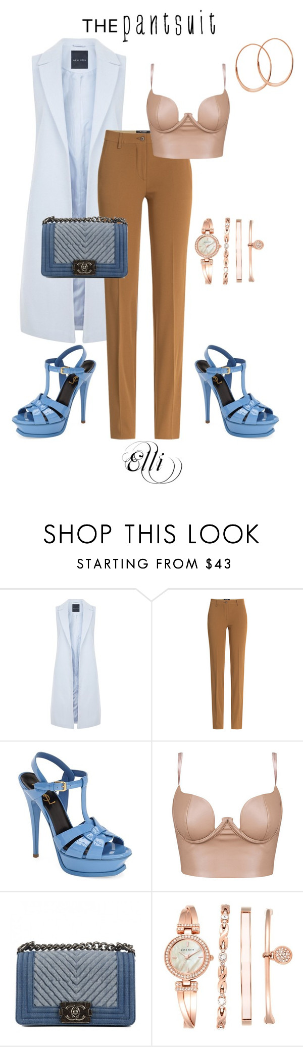 """""""The Pansuit"""" by elli-skouf ❤ liked on Polyvore featuring New Look, Etro, Yves Saint Laurent, Chanel, Anne Klein, Lana, trend, thepantsuit and PVHint"""