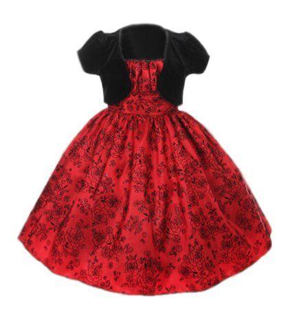 6612d22d07 Amazon.com  Cinderella Couture Girls Velvet Flocked Taffeta Holiday Dress  with Velvet Bolero