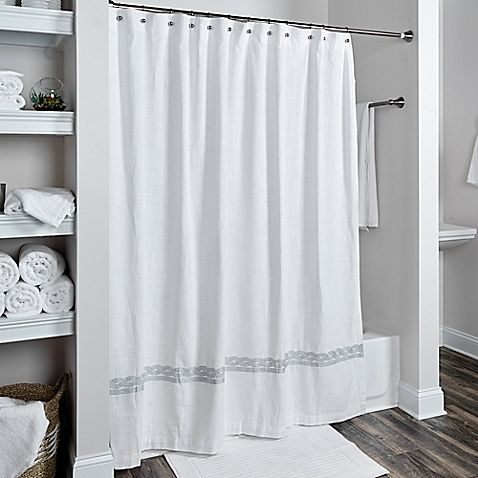 Rizzy Home Cable Embroidered Shower Curtain In White Silver