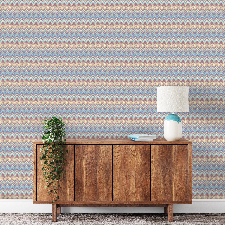 Multi Chevron Removable Wallpaper Custom Wallpaper Peel Etsy Traditional Wallpaper Removable Wallpaper How To Install Wallpaper