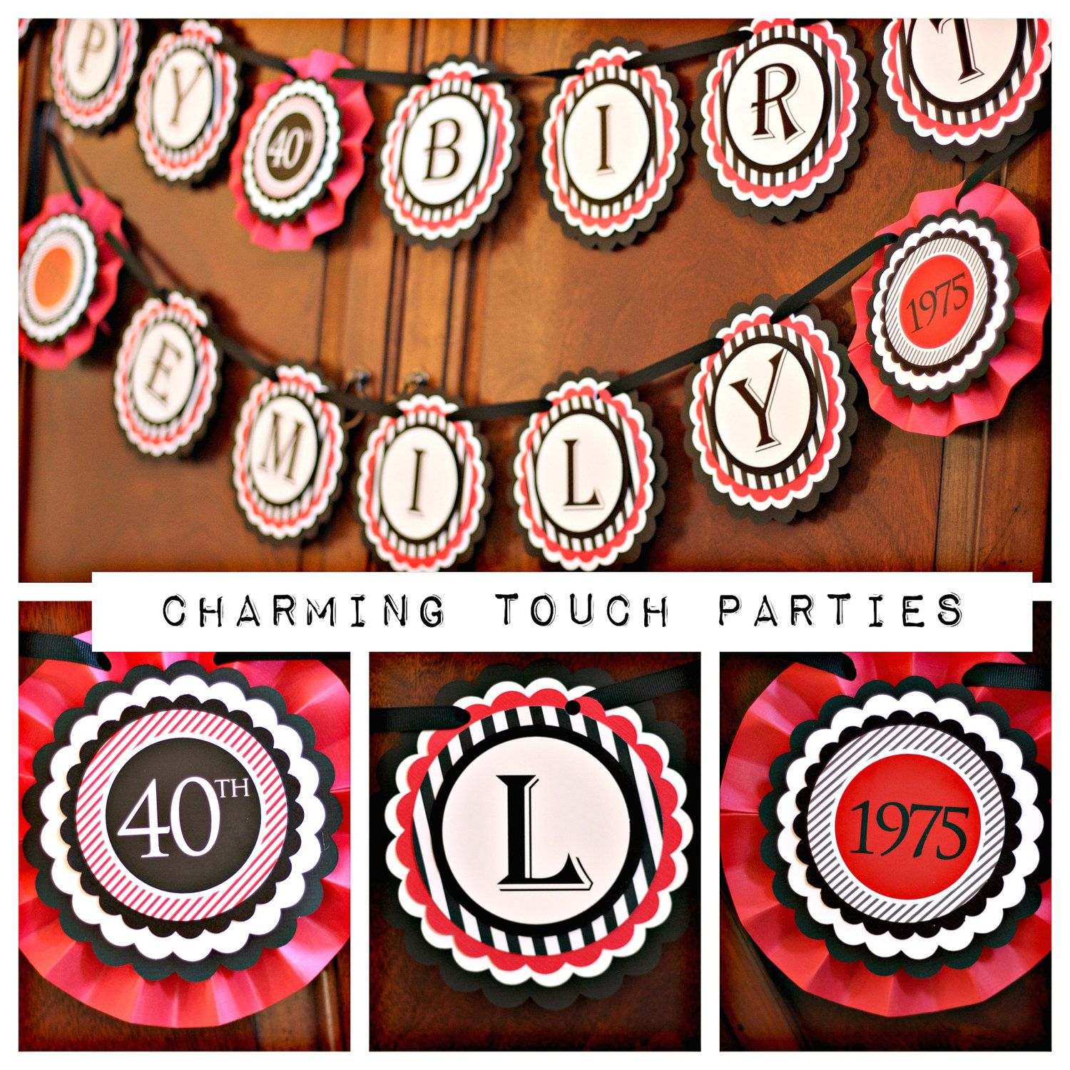 40th Birthday Party Banner Red and Black fully assembled and