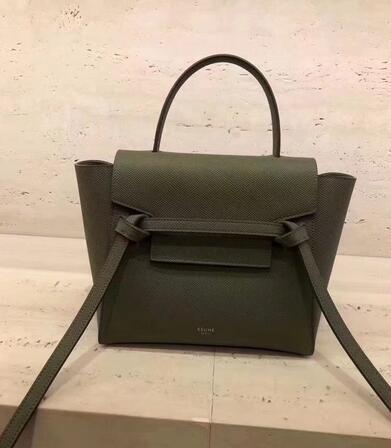 2018 Cheap Celine Nano Belt bag in grained calfskin Olive green ... 956e20c2f5ee6