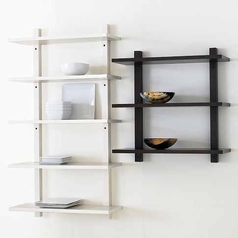 Could possibly use these in the kitchen or for extra - Wall mounted bookshelf designs ...