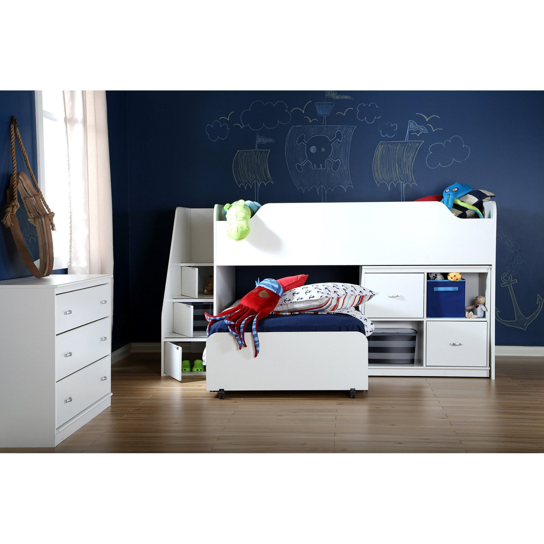 Mobby loft bed with stairs  South Shore Twin Loft Bed with Trundle and Storage Unit  A