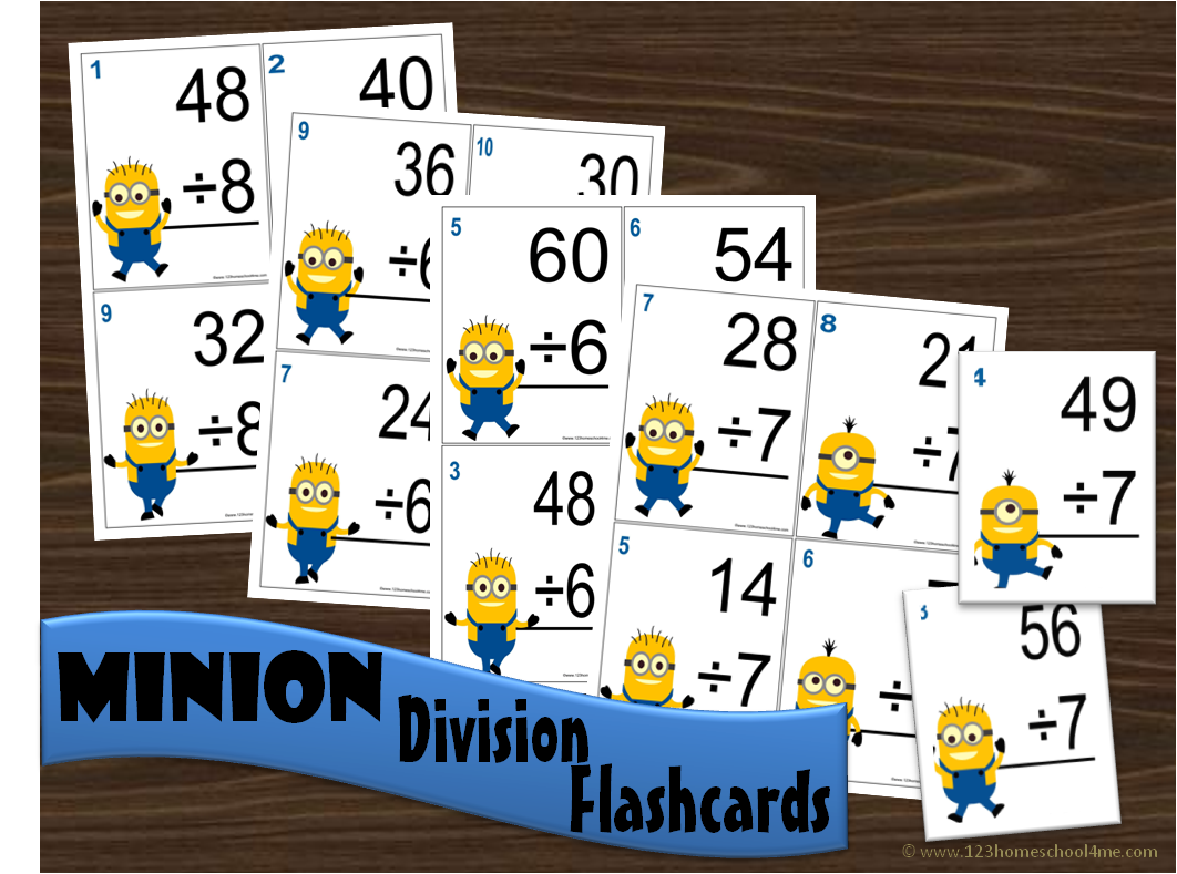 Minion Division Math Flashcards