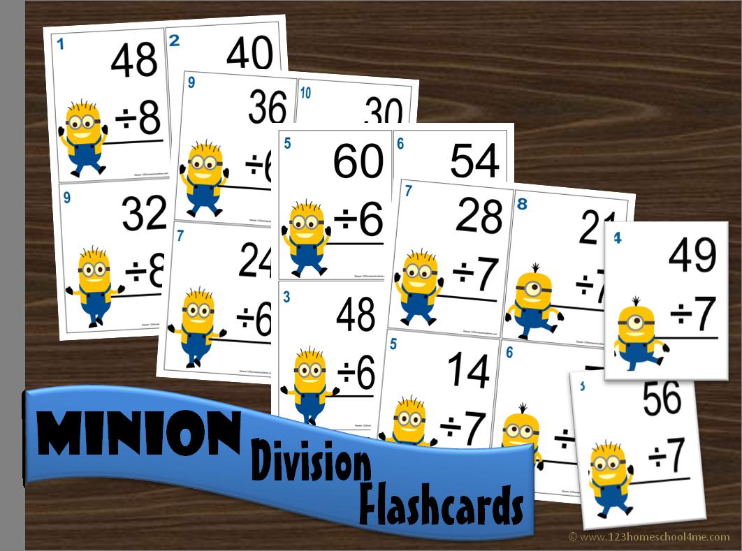Minion Division Math Flashcards