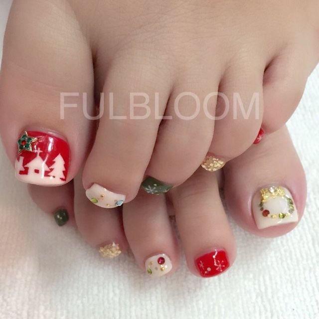 27 Holiday Fun Designs For Christmas Toe Nails Toe Nail Designs