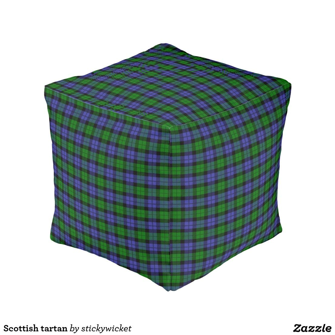 Scottish tartan cube pouf