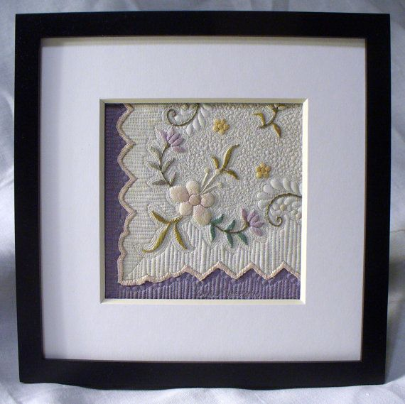 Framed Miniature Vintage Hankie Wholecloth by TheLinenQuilter, How beautiful is this!  Amazing stitiching.