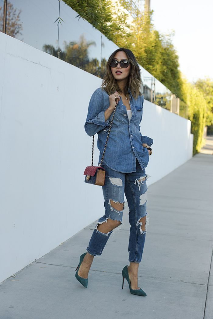 8ef402928d0 Aimee Song looks ultra cool in head to toe denim  combining destroyed jeans  and a simplistic denim shirt from J. Crew. This look is super retro and  perfect ...