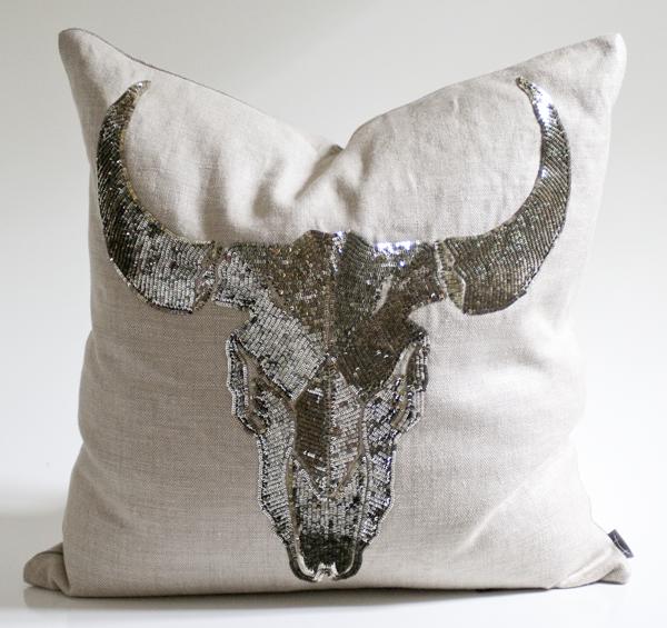 Sequin longhorn pillow