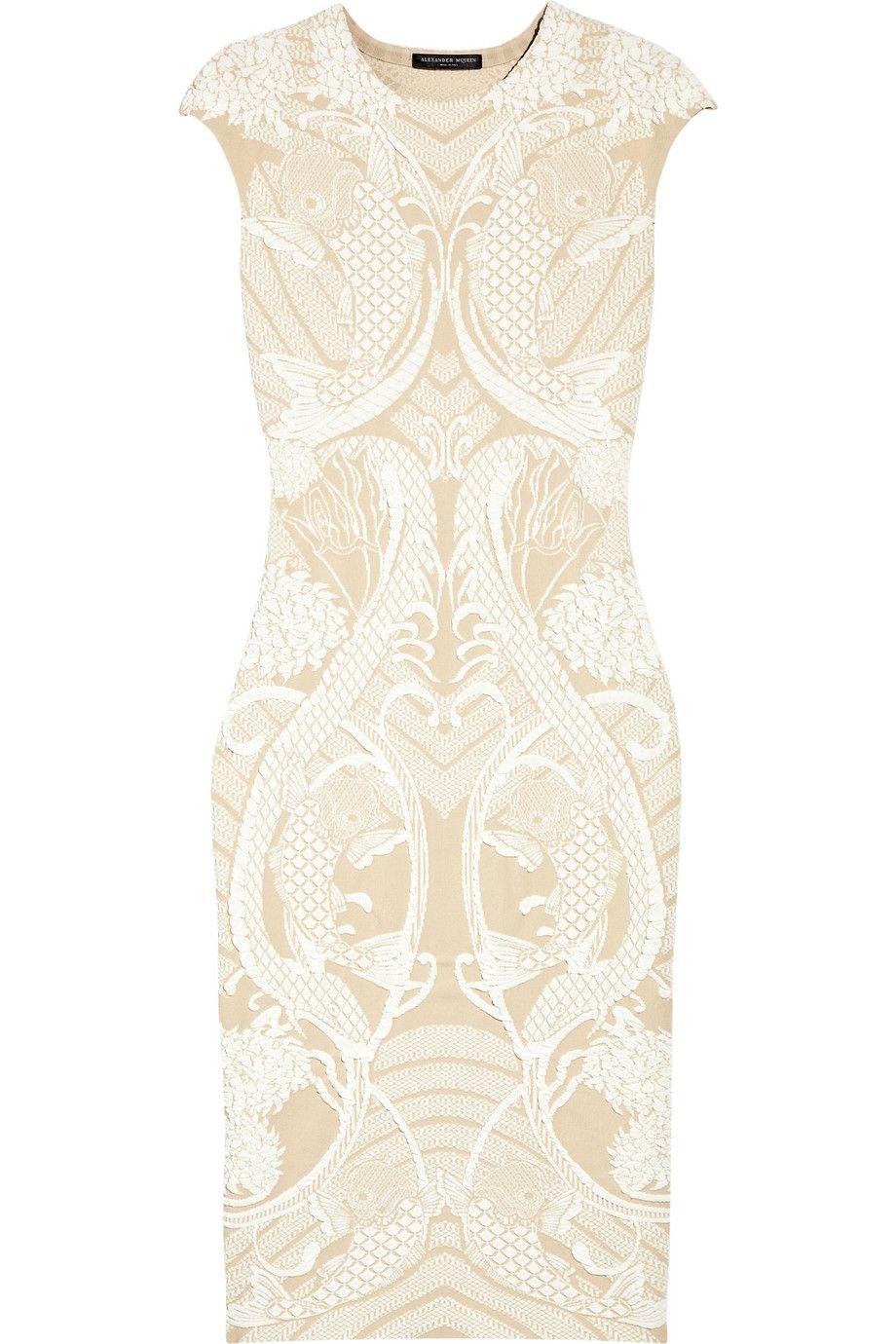 Alexander McQueen|Textured stretch-jersey dress|NET-A-PORTER.COM