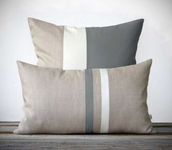Gray Decorative Pillow Set - (12x20) Stripe and (20x20) Color Block  by JillianReneDecor - Modern Home Decor - Minimal